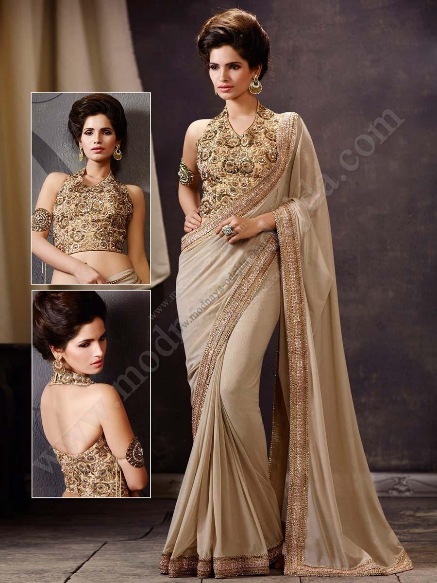 Beige Abendkleid Indische Sari, verziert mit Stickerei Spitze mit LUREX,  Pailletten und Glitter